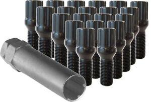 "20 Pc VW SPLINE Black Lug Bolts Nuts 14m x 1.50 .93"" Length Part # 56820SBK"