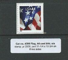 Cat. no. 4396;  44c Flag perf. 11-1/4 x 10-3/4 s/a booklet single MINT