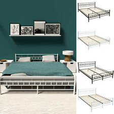 Double metal bed frame king size modern bedroom + slatted frame