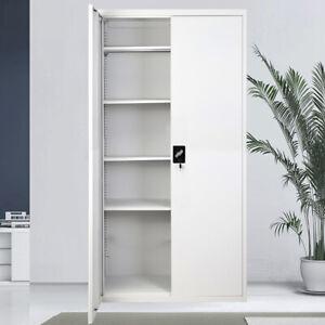 2-Door Office Filing Cabinet Metal Cupboard Desk 3/4/5 Tier Storage Locker Home