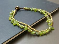 Handmade Double Chain  Peridot  Anklet
