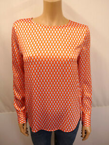 HERZENSANGELEGENHEIT Seidenbluse Gr.36 Tunika Blusenshirt Bluse Orange Weiß Grau