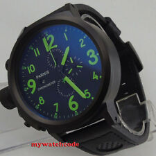 50mm Parnis green mark PVD coated full Chronograph Lefty Crown mens Watch P187B