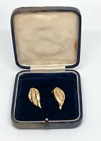 VINTAGE 1980s Statement Clip On Earrings Gold Tone Wing Design Power Dressing