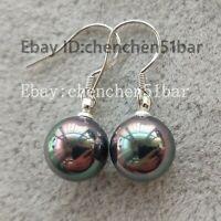 schönes Paar 10mm bunte schwarze Muschel Perle Ohrringe