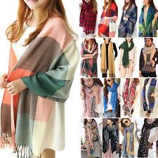 Women's Men's Plaid Solid Long Cashmere Pashmina Scarf Wrap Shawl Tassel Stole