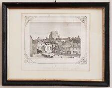 gravure  encadrée tours 1841 Montbazon Foulque nerra dojjon Xe siècle