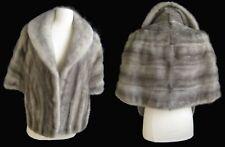 EMBA Cerulean MINK Fur Shawl , Silver Vintage Bridal Stole , Gray Real Fur Cape