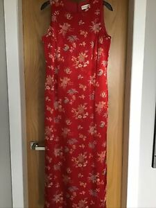 House Of Fraser Red Oriental Chinese Style Long Dress Size 12