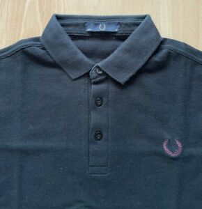FRED PERRY LAUREL WREATH COLLECTION BLACK BURGUNDY TWO TONE POLO SHIRT S