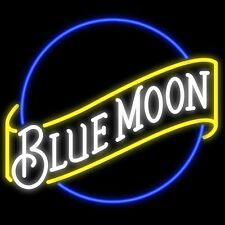 "New Blue Moon Beer Bar Real Glass Neon Light Sign 17""x14"" Fast Ship"