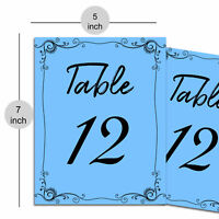 Wedding Place Card Table Number for Wedding Table Invitation Sign Board - Blue