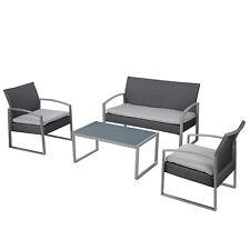 Set da giardino esterno con divano 2 poltrone e tavolino in polyrattan e acciaio