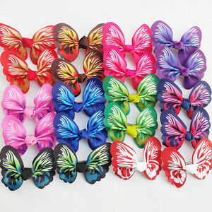 20pcs(10pair) Mix Lots Dog Hair Bows Clip Dog Grooming Bow Assorted Color