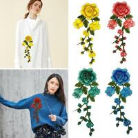 3D Embroidery Patch Rose Flower Collar Neckline Sewing Applique DIY Decor Access