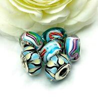 6 PANDORA Silver 925 ALE Murano Charm Rainbow Cloud Balloon Candy Cane Beads