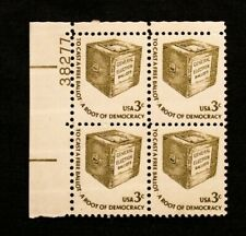 US Stamps Plate Blocks #1584 ~ 1977 EARLY BALLOTT 3c Plate Block MNH