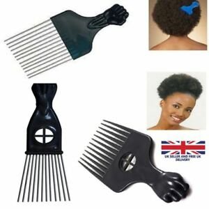 Afro Comb with Black Fist Metal or Plastic African hair Pik Professional Styling