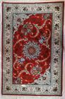 Original Handmade silk rug wool and silk red colour exotic and unique design