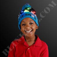 CHRISTMAS LED Winter Beanie Blinking Light Up SNOWMAN Knit Cap