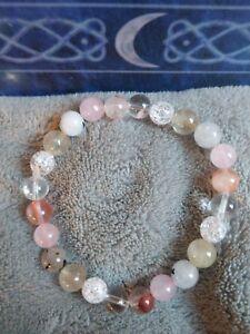 QUARTZ FAMILY Crystal Healing Bead Bracelet CLEAR, RUTILATED, ROSE QUARTZ