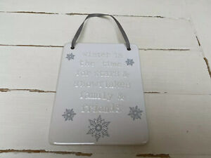 Winter / Christmas Ceramic Hanging Home Plaque / Sign