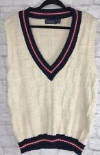 Lands' End Men's Size 42 44 Cotton Cream Navy V-Neck Sweater Vest