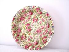 Chintz Pattern Pink Roses 20cm Wide Old Bowl Silver Rim Superior Quality Japan