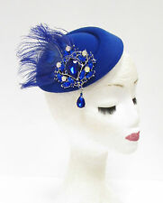 Royal Blue Silver Feather Pillbox Hat Headpiece Hair Fascinator Vtg Races 2238