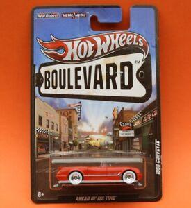 Hot Wheels Boulevard: 1955 Chevrolet Corvette - Red, Real Riders, Metal & Metal