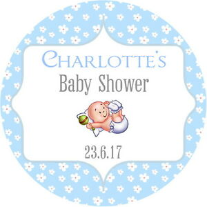 PERSONALISED, GLOSS BABY SHOWER STICKERS BLUE/ PINK BOY GIRL 4 SIZES