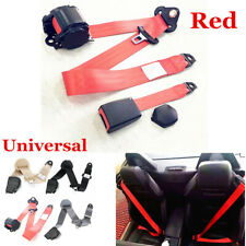 1 Kit Of 3 Point Universal Strap Retractable & Adjustable Safety Seat Belt Red