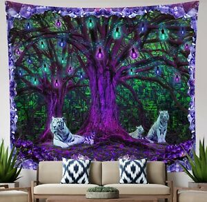 Purple Misty Forest White Tiger Psychedelic Wall Hanging Tapestry Home Decor