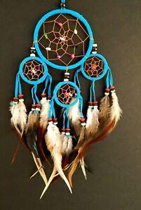 TURQUOISE BLUE RAINBOW DREAM CATCHER 9 x 25cm KIDS BOYS DREAMCATCHER GIFT