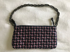 J. Crew Silk Birds Duck Navy Pink Wristlet Clutch Purse Shoulder Bag Chain Strap