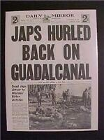 VINTAGE NEWSPAPER HEADLINE ~WORLD WAR 2 US BATTLE JAPANESE GUADALCANAL WWII 1942