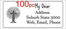 100 Personalised return address label sticker 56x25mm christian jesus cross