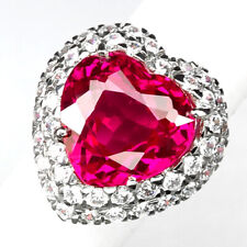 TOPAZ PINK RASPBERRY HEART 16.70 CT. SAPPHIRE 925 STERLING SILVER RING SZ 6 GIFT