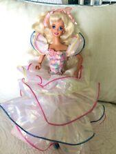 "TNT BARBIE DOLL 1995 ""HAPPY BIRTHDAY""  IRIDESCENT DRESS Pink Earrings LONG HAIR"