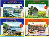 SET 4 ADULT COLOURING BOOKS SEA, FIELDS, RIVERS, MOUNTAINS, PENCIL PENS 3110 NEW