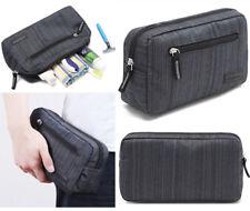 Mens Dark Grey Toiletries Bag Shower Organizer Kit Case Handy #41
