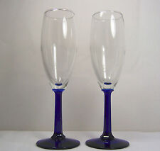 Set 2 COBALT BLUE & CLEAR  Wine Glasses Champagne Flutes HEXAGONAL STEM 7-3/4""