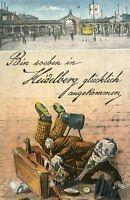 Humorvolle Ansichtskarte Heidelberg Hauptbahnhof
