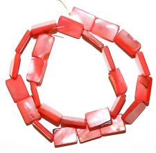 """MP468e Red 15mm Flat Rectangle Mother of Pearl Shell Gemstone Beads 15"""""""
