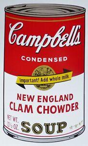 ANDY WARHOL CAMPBELLS' NEW ENGLAND CLAM CHOWDER SOUP II SUNDAY B.MORNING /1500
