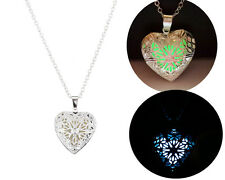 New Hollow Heart Pendant Luminous Necklace Glow In The Dark Locket Jewelry Gift