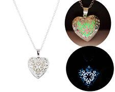 Hot Hollow Heart Pendant Luminous Glow In The Dark Locket Necklace Jewelry Gift