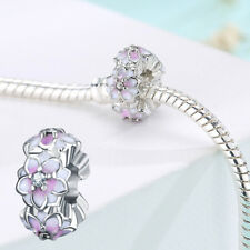 Pink Crystal Bead Charm Bead Clip Stopper For European Bracelet DIY Jewelry New