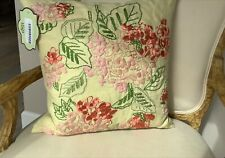 "Sferra 1891 Dorothy Lemon Drop Yellow Embroidered Floral 18"" Pillow, open, tags"