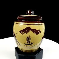 """ASIAN ART POTTERY TERRACOTTA JUNK SHIP BUILDINGS MOUNTAINS 5 1/4"""" JAR WITH LID"""